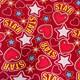 Красный со звездами и сердечками