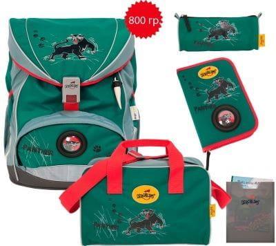 """Ранец ErgoFlex """"Пантера"""", спортивная сумка, два пенала и папка-бокс"""