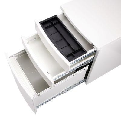 Белая глянцевая тумбочка C-SMOOTH-W с тремя ящиками