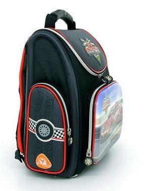 Черный ранец Hummingbird Speed Racer для мальчика (K51)