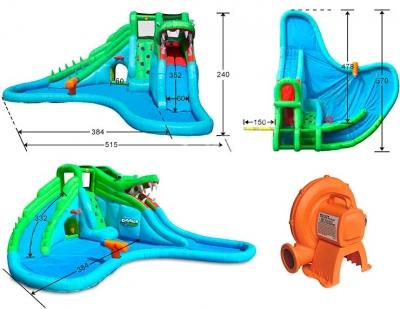 Надувная водная горка Крокодил