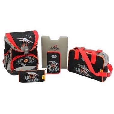 """Ранец ErgoFlex """"Космостар"""" со светодиодами, спортивная сумка, два пенала и папка-бокс"""