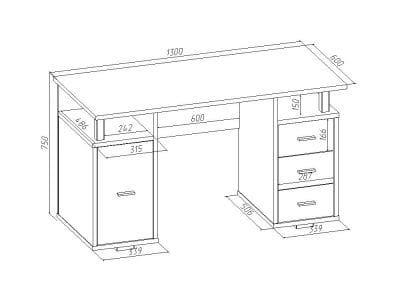 Письменный стол двухтумбовый ПС 40-07