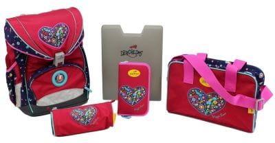 """Ранец ErgoFlex XL """"Цветочная любовь"""", спортивная сумка, два пенала и папка-бокс"""