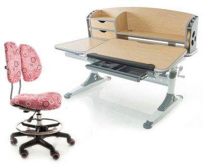 Комплект Mealux Парта Aivengo - L с креслом Simba и прозрачной накладкой на парту 65х45