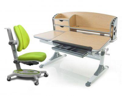Комплект Mealux Парта Aivengo - L с креслом Stanford Duo и прозрачной накладкой на парту 65х45