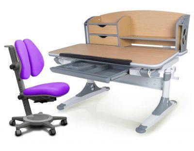 Комплект Mealux Парта Aivengo - M с креслом Cambridge Duo и прозрачной накладкой на парту 65х45
