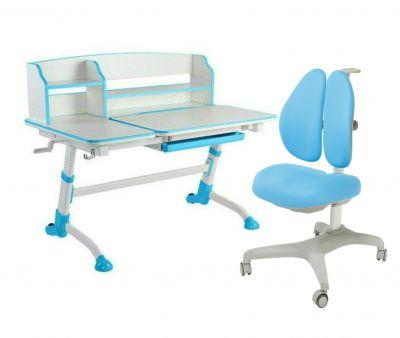 Комплект FunDesk Парта-трансформер Amare II с креслом Bello II и прозрачной накладкой на парту 65х45