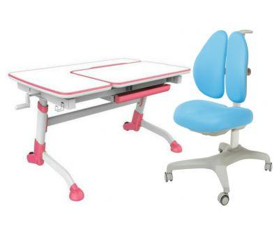 Комплект FunDesk Парта-трансформер Amare с креслом Bello II и прозрачной накладкой на парту 65х45