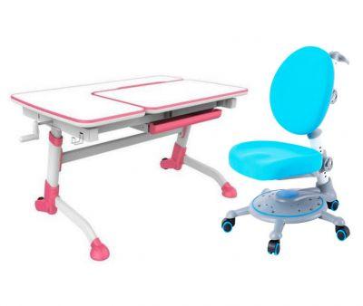 Комплект FunDesk Парта-трансформер Amare с креслом SST1 и прозрачной накладкой на парту 65х45