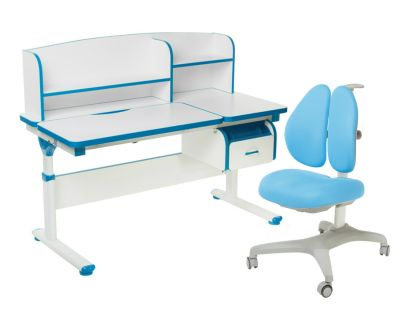 Комплект FunDesk Парта-трансформер Creare с креслом Bello II и прозрачной накладкой на парту 65х45