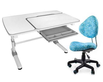 Комплект Mealux Парта Darwin с компьютерным креслом Aladdin и прозрачной накладкой на парту 65х45