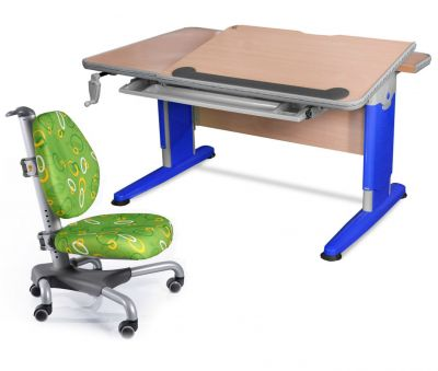 Комплект Mealux Стол Detroit с креслом Nobel и прозрачной накладкой на парту 65х45