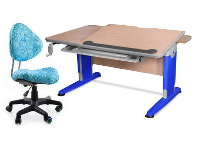 Комплект Mealux Стол Detroit с компьютерным креслом Aladdin и прозрачной накладкой на парту 65х45