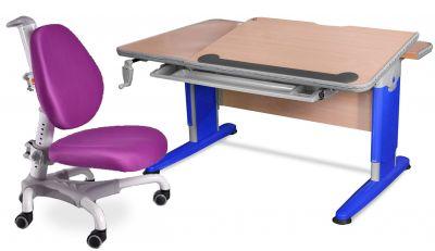 Комплект Mealux Стол Detroit с компьютерным креслом Champion и прозрачной накладкой на парту 65х45