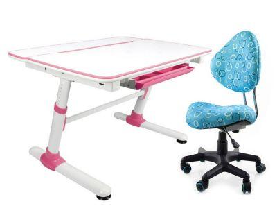 Комплект Mealux Парта трансформер Duke с компьютерным креслом Aladdin и прозрачной накладкой на парту 65х45
