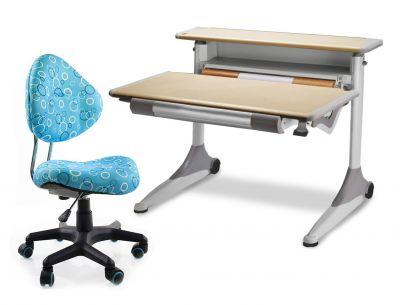 Комплект Mealux Стол Grand с компьютерным креслом Aladdin и прозрачной накладкой на парту 65х45