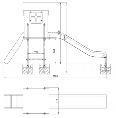 Домик с горкой (уличный вариант на 4х стойках) ИО-1.5.27.00