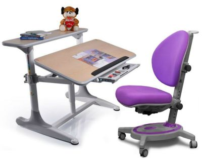 Комплект Mealux Стол Shubert с креслом Stanford и прозрачной накладкой на парту 65х45