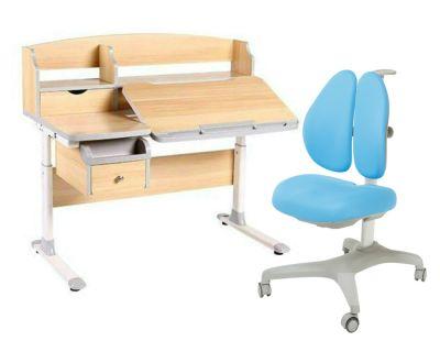 Комплект FunDesk Парта-трансформер Sognare с креслом Bello II и прозрачной накладкой на парту 65х45