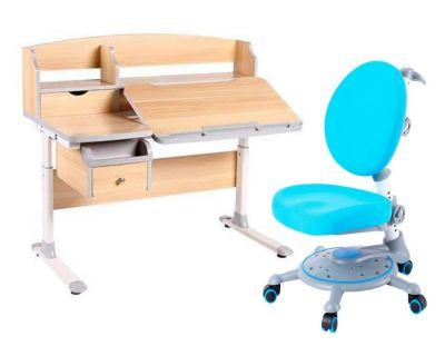 Комплект FunDesk Парта-трансформер Sognare с креслом SST1 и прозрачной накладкой на парту 65х45