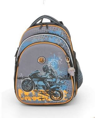 Серый ранец Hummingbird Motor Riders для мальчика (T27)