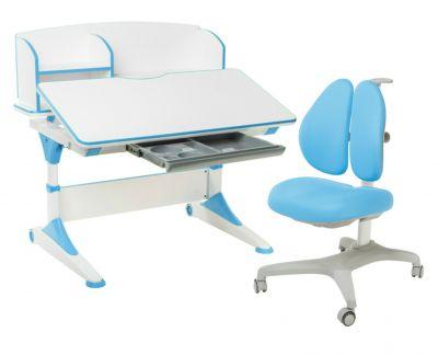Комплект FunDesk Парта-трансформер Trovare с надстройкой с креслом Bello II и прозрачной накладкой на парту 65х45