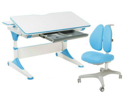 Комплект FunDesk Парта-трансформер Trovare с креслом Bello II и прозрачной накладкой на парту 65х45