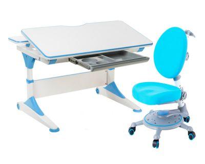 Комплект FunDesk Парта-трансформер Trovare с креслом SST1 и прозрачной накладкой на парту 65х45