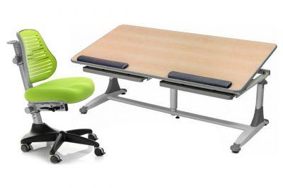 Комплект Comf-pro Стол для двоих детей Twins с компьютерным стулом Conan и прозрачной накладкой на парту 65х45