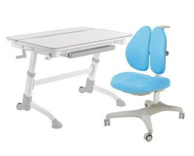 Комплект FunDesk Парта-трансформер Volare с креслом Bello II и прозрачной накладкой на парту 65х45