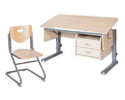 Комплект Астек Парта МОНО-2 с тумбой со стулом SK-2 и прозрачной накладкой на парту 65х45