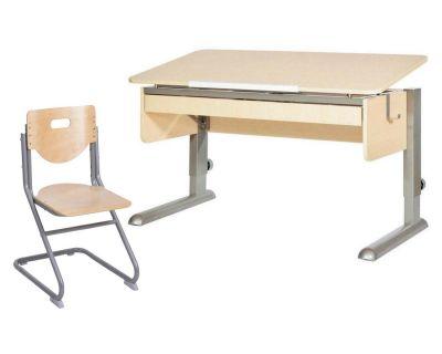Комплект Астек Парта МОНО-2 с органайзером со стулом SK-2 и прозрачной накладкой на парту 65х45