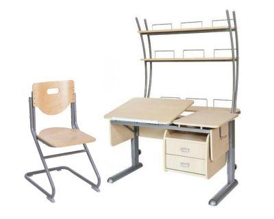 Комплект Астек Парта ТВИН-2 с надстройкой и тумбой со стулом SK-2 и прозрачной накладкой на парту 65х45