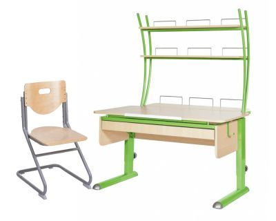 Комплект Астек Парта МОНО-2 с надстройкой и выдвижным органайзером со стулом SK-2 и прозрачной накладкой на парту 65х45