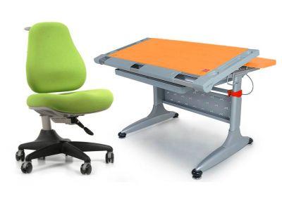 Комплект Comf-pro Стол ТОКИО-2 (с ящиком) с креслом Match Chair (Матч) и прозрачной накладкой на парту 65х45