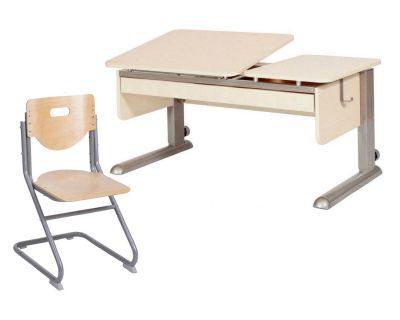 Комплект Астек Парта ТВИН-2 с органайзером со стулом SK-2 и прозрачной накладкой на парту 65х45