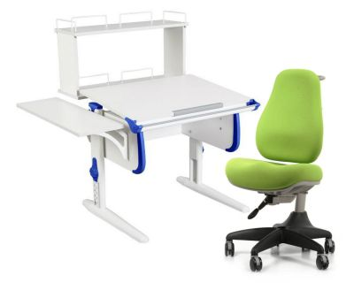 Комплект ДЭМИ Парта WHITE СТАНДАРТ СУТ-24-02Д с креслом Match Chair и прозрачной накладкой на парту 65х45