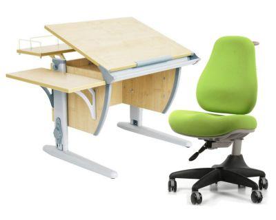 Комплект ДЭМИ Парта СУТ-14-02 75х55 см с задней и боковой приставкой с креслом Match Chair и прозрачной накладкой на парту 65х45