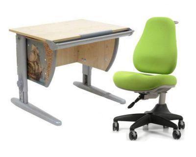 Комплект ДЭМИ Парта СУТ-14P 75х55 см с рисунком с креслом Match Chair и прозрачной накладкой на парту 65х45
