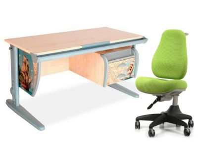 Комплект ДЭМИ Парта СУТ-15-03P 120х55 см с рисунком с креслом Match Chair и прозрачной накладкой на парту 65х45