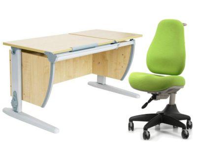 Комплект ДЭМИ Парта СУТ-17 120Х55 см с раздельной столешницей с креслом Match Chair и прозрачной накладкой на парту 65х45
