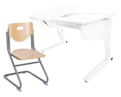 Комплект Астек Парта Прайм со стулом SK-2 и прозрачной накладкой на парту 65х45