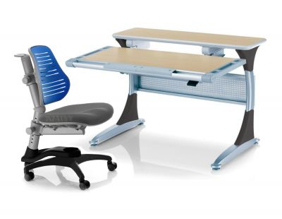 """Комплект Comf-pro Стол Harvard с ящиком с креслом """"Oxford"""" (Оксфорд) C3 и прозрачной накладкой на парту 65х45"""