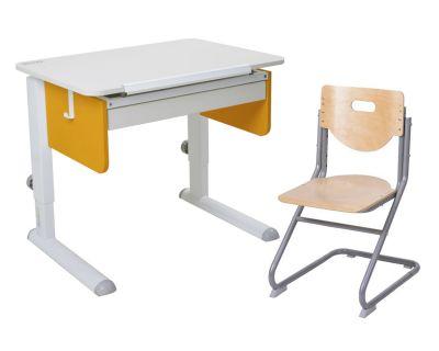 Комплект Астек Парта Юниор с ящиком со стулом SK-2 и прозрачной накладкой на парту 65х45