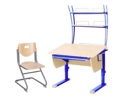 Комплект Астек Парта КОЛИБРИ с надстройкой со стулом SK-2 и прозрачной накладкой на парту 65х45