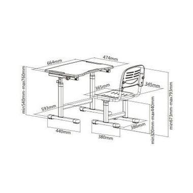 Комплект парта и стул Mealux EVO-07