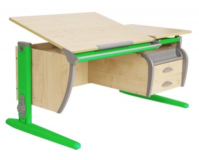 Парта ДЭМИ (Деми) СУТ 17-05Д (парта 120 см+задняя приставка+двухъярусная задняя приставка+боковая приставка+подвесная тумба) c цветом столешницы клен, зеленым каркасом