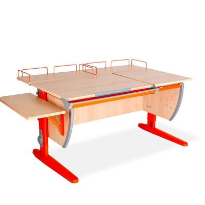 Парта ДЭМИ (Деми) СУТ 17-02 (парта 120 см+две задние приставки+боковая приставка) c цветом столешницы клен, оранжевым каркасом