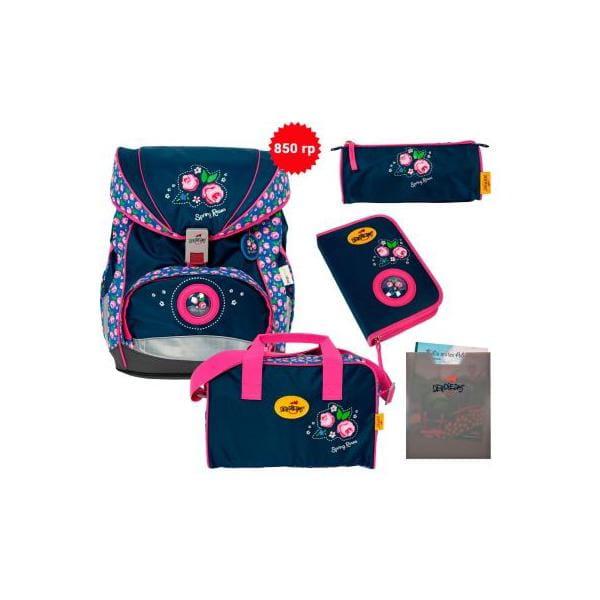 """Ранец ErgoFlex XL """"Розы"""", спортивная сумка, два пенала и папка-бокс"""
